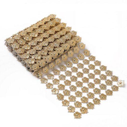 """רנר חרוזים ר.11 א.100 ס""""מ-פרחים/זהב"""