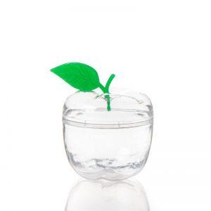 """כלי פלסטי בצורת תפוח+עלה ירוק ק.7 ס""""מ"""