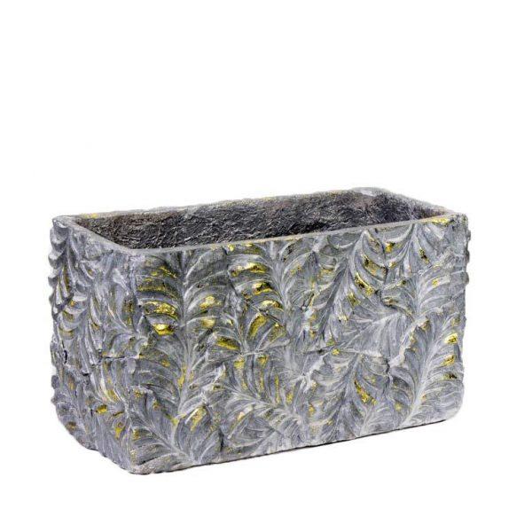 """אדנית אבן עלים אפור/זהב א.36 ר.18 ג.20 ס""""מ"""