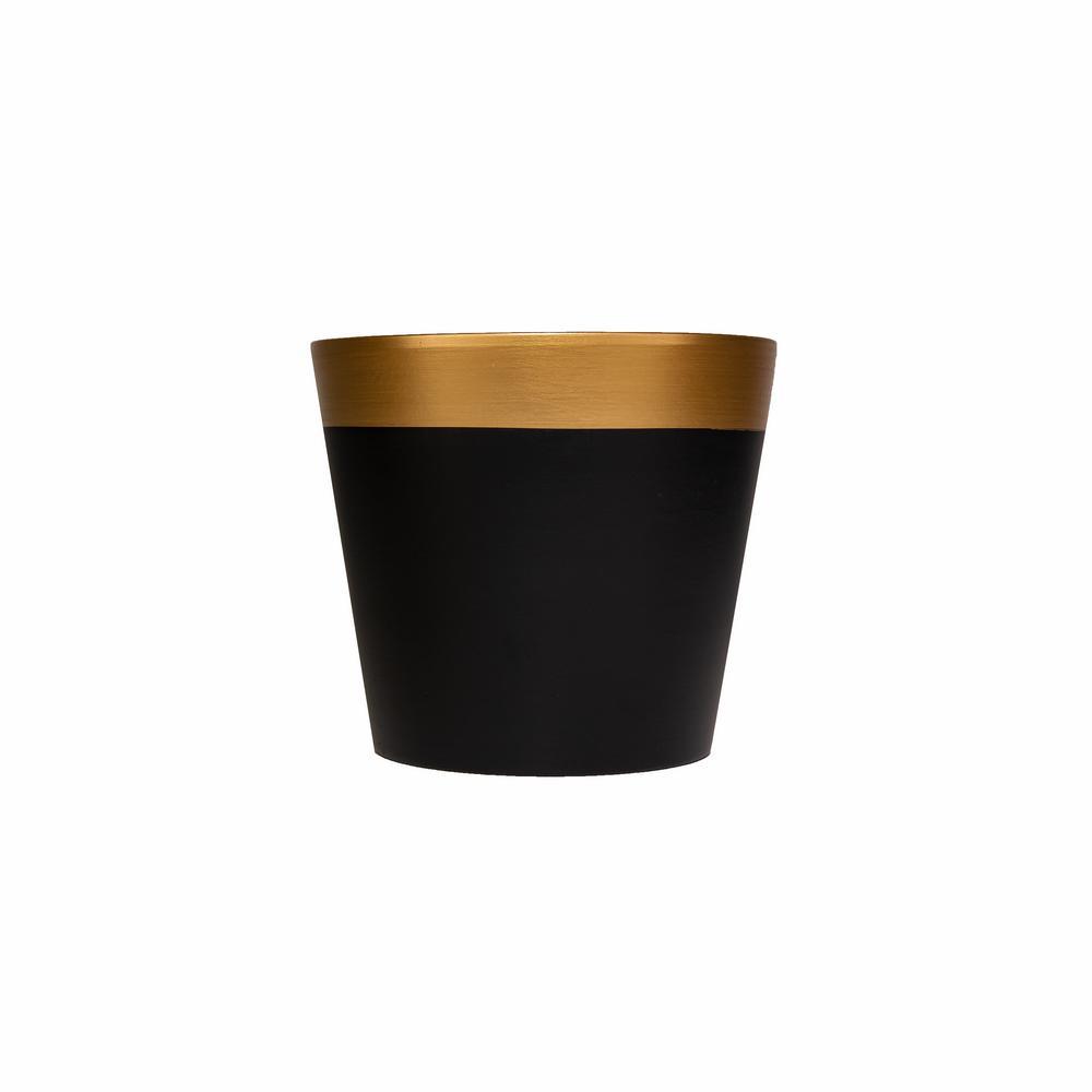 """בית עציץ קרמי ק.17 ג.15.5 ס""""מ-שחור מט/זהב"""
