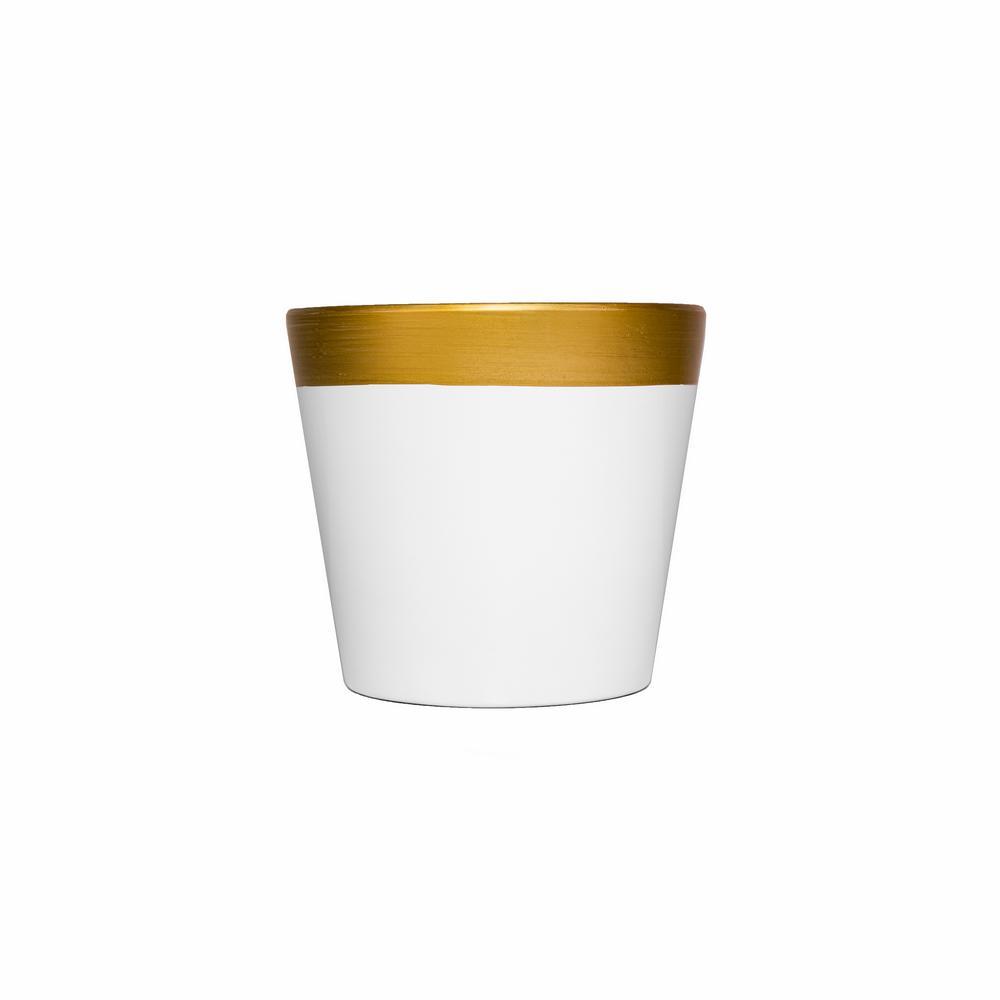 """בית עציץ קרמי ק.17 ג.15.5 ס""""מ-לבן/זהב"""