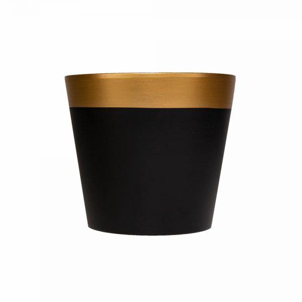 """בית עציץ קרמי ק.19.50 ג.17.50 ס""""מ-שחור מט/זהב"""
