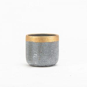 """עציץ קרמי פס זהב ק.13 ג.12.5 ס""""מ"""