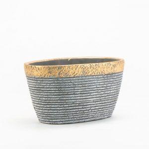 """אדנית קרמי פס זהב א.20 ר.12.5 ג.10.5 ס""""מ"""