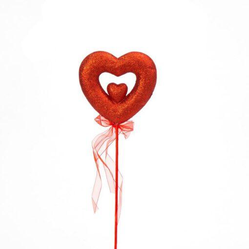 """מקל + לב גליטר ר.13 ג.42 ס""""מ- אדום"""