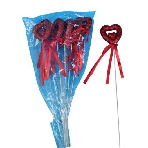 """חבילת 6 לב קלקר חלול-אדום ג.29 ס""""מ"""