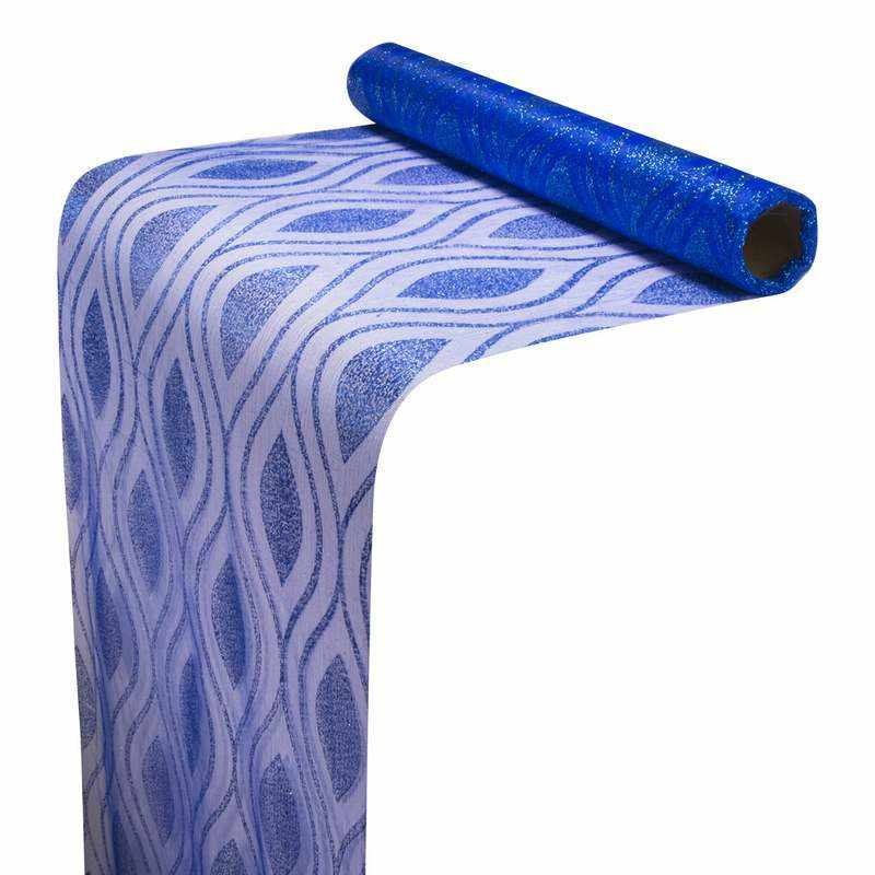 """גליל אורגנזה 36 ס""""מ / 5 יארד-גליטר-כחול/כחול"""