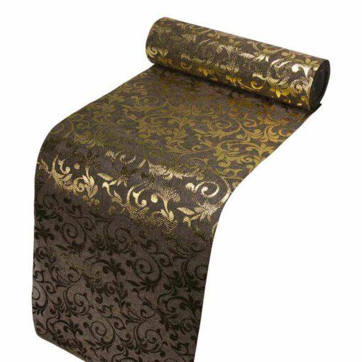 """גליל יוטה  24 ס""""מ 5 יארד-חום מודפס עלים זהב"""