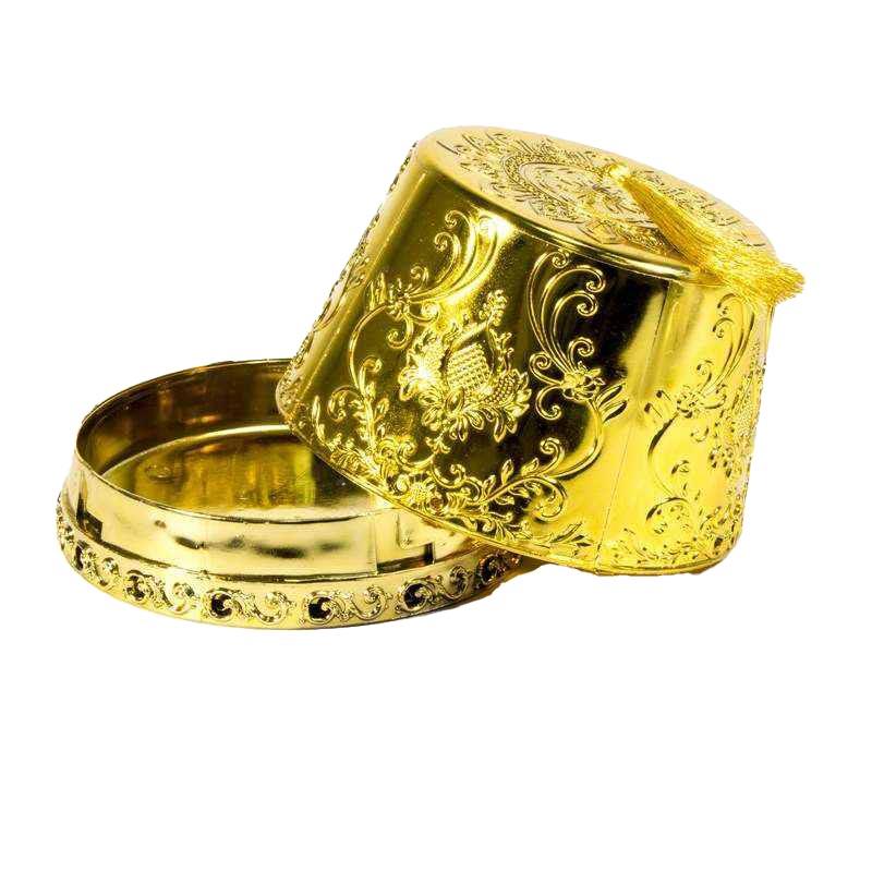 """קופסאת פלסטי כובע תרבוש ק.16 ג.12 ס""""מ -זהב"""