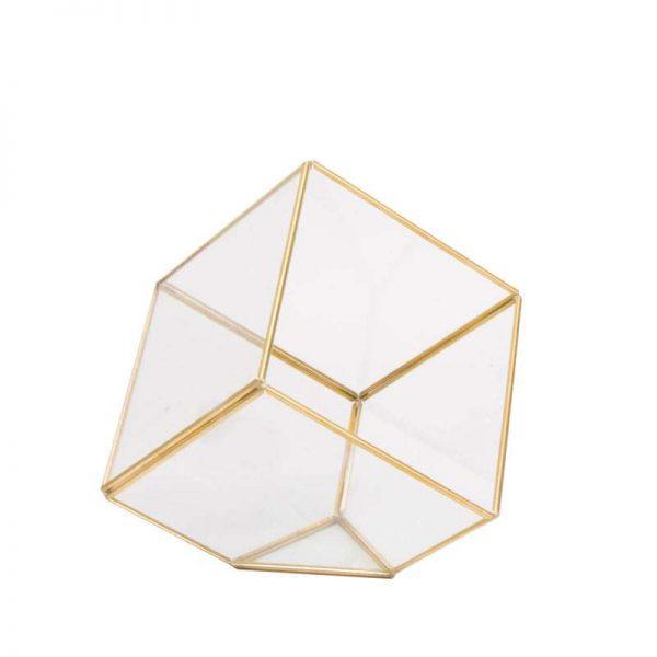 """קוביה זכוכית מסגרת מתכת זהב ר.9.5 ג.9.5 ס""""מ"""