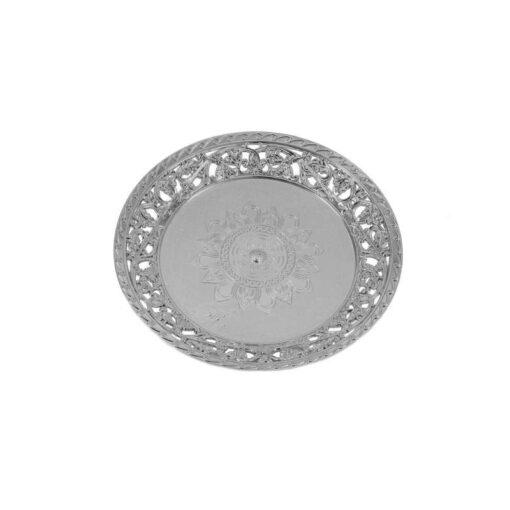 """צלחת פלסטית עגול ק.26 ס""""מ-כסף"""