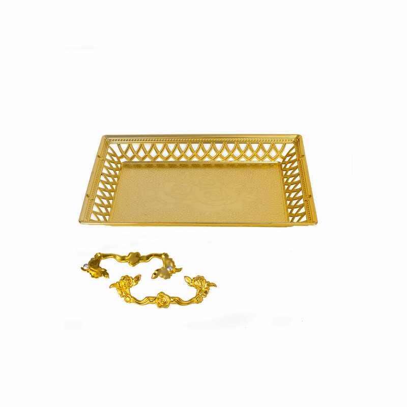 """מגש פלסטית מרובע עם ידיות 32.5/23 ס""""מ -זהב"""