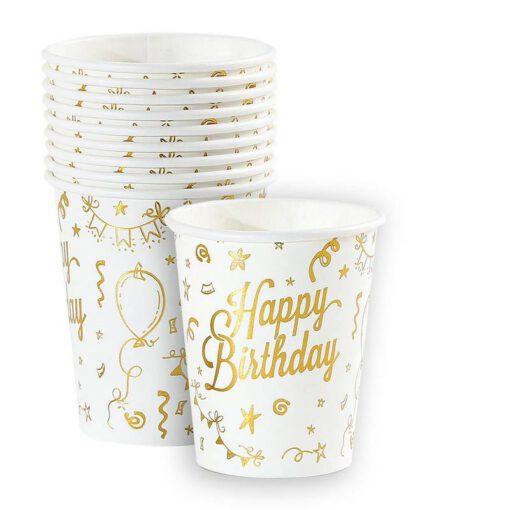 חבילת 10 כוס נייר-HAPPY BIRTHDAY-זהב