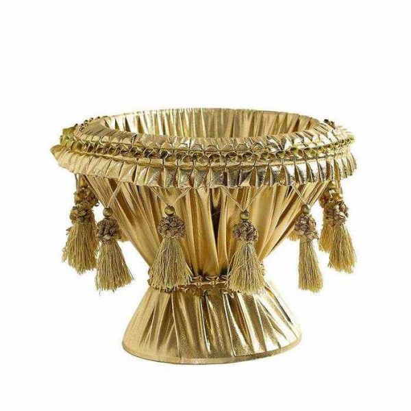 """גביע פלסטיק מצופה בד לחינה ק.26 ג.20 ס""""מ- זהב"""