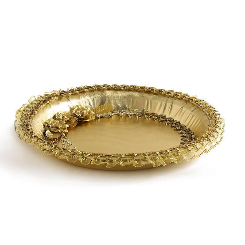 """מגש לחינה מצופה בד ג.36 ס""""מ- זהב"""