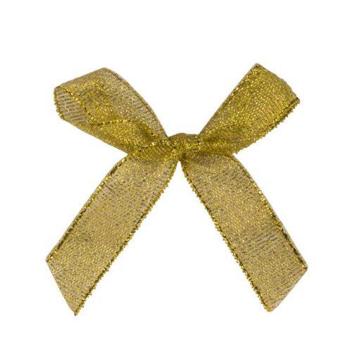 """חבילת 12 פפיון בד+תיל קשירה ר.1.5 ס""""מ-זהב"""