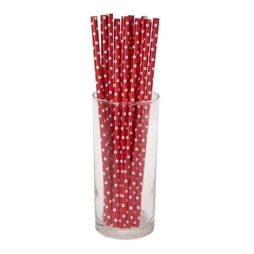 חבילת 12 קשית נייר-אדום נקודות לבן