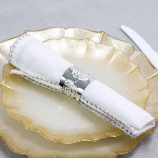חבילת 6 חבק מפיות מתכת-דמוי ורד-כסף