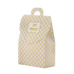 """קופסת קרטון תיק 30.5/20/10 ס""""מ-חג שמח זהב"""