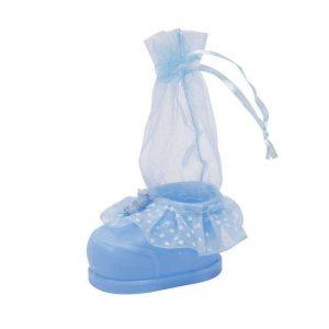 """כלי פלסטי בצורת נעל+שק אורג' ג.13 ס""""מ-תכלת"""