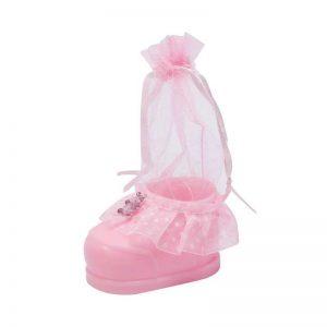 """כלי פלסטי בצורת נעל+שק אורג' ג.13 ס""""מ-ורוד"""