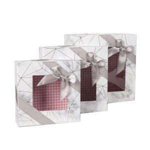 """סט 3 קופסאות קרטון+חלון 23/9 +20/7.5 +17/6.5 ס""""מ"""