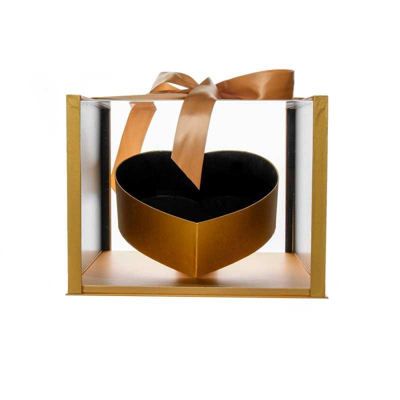 """קופסא פלסטי/אקרילי מרובע+לב פנימי 31/32/24.5 ס""""מ-זהב"""