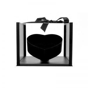 """קופסא פלסטי/אקרילי מרובע+לב פנימי 31/32/24.5 ס""""מ-שחור"""