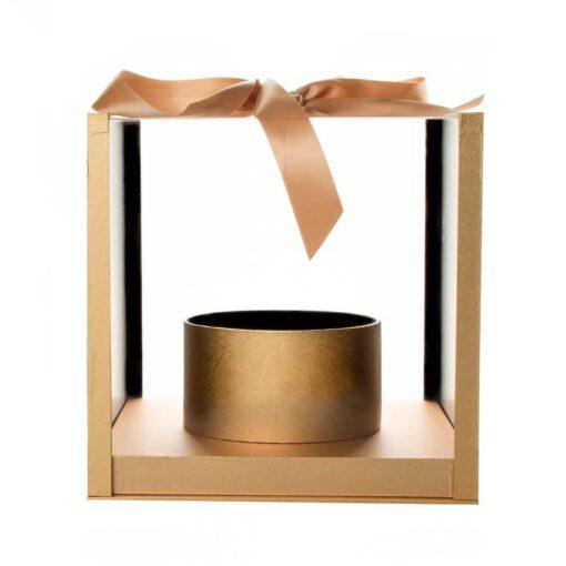 """קופסא פלסטי/אקרילי מרובע+גליל פנימי 25/25/25 ס""""מ-זהב"""