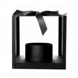 """קופסא פלסטי/אקרילי מרובע+גליל פנימי 25/25/25 ס""""מ-שחור"""
