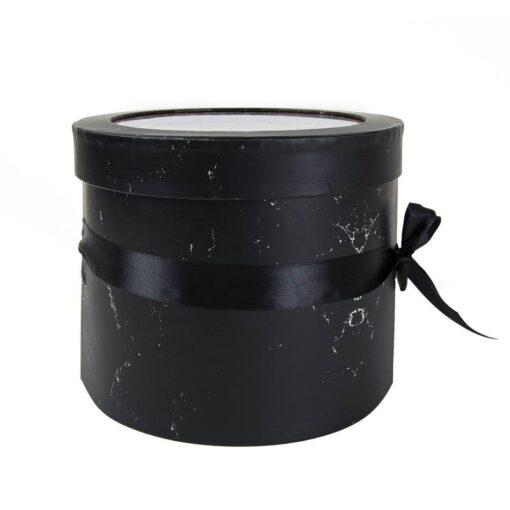 """קופסאת קרטון עגולה ק.19.5 ג.17 ס""""מ-קומותיים עם פי וי סי -שחור שיש"""
