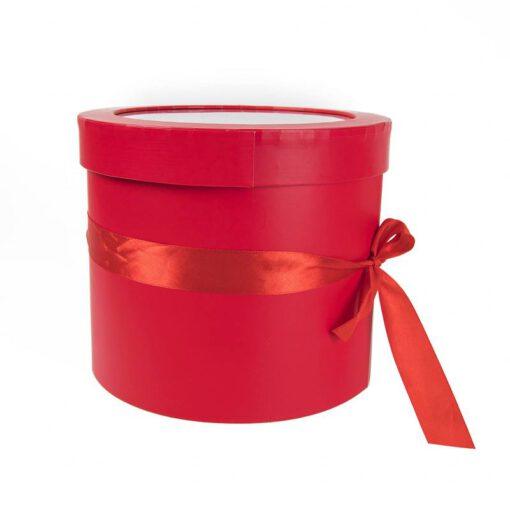 """קופסאת קרטון עגולה ק.19.5 ג.17 ס""""מ-קומותיים עם פי וי סי -אדום"""