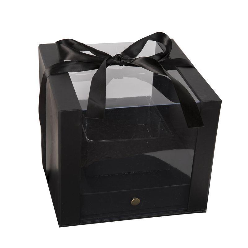 """קופסאת קרטון/פי וי סי 24/24/20 ס""""מ+כלי פנימי-שחור"""