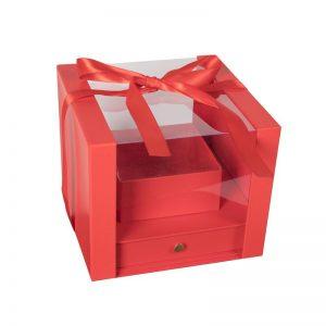 """קופסאת קרטון/פי וי סי 24/24/20 ס""""מ+כלי פנימי-אדום"""