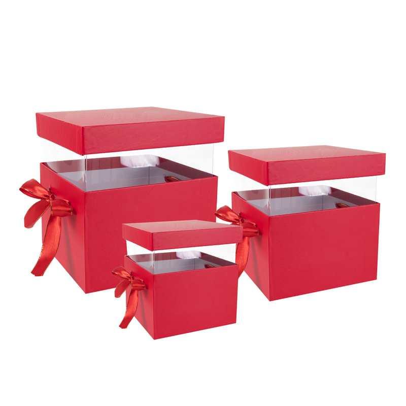 סט 3 קופסאות קרטון מלבני+פי וי סי- 22/22+19/21+17/19 -אדום