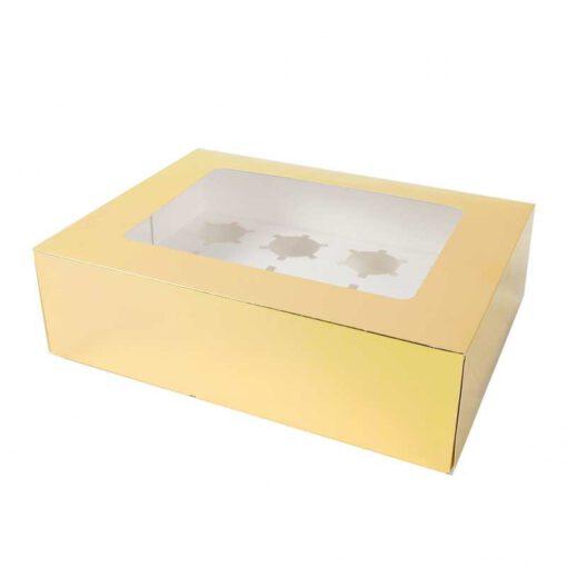 """קופסאת קרטון ל12 קאפקייקס 34.5/26/10 ס""""מ-זהב"""