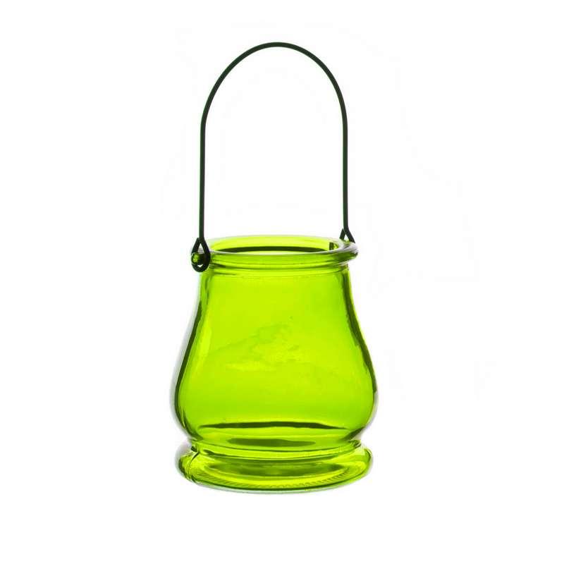 עשישית זכוכית+ידית מתכת ק.8.5 ג.9.5-ירוק כהה