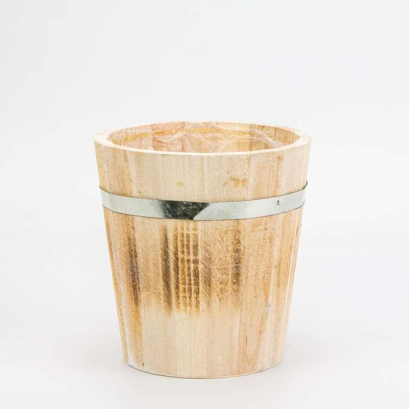 """עציץ עץ+ציפוי ניילון ק.17 ג.18 ס""""מ"""