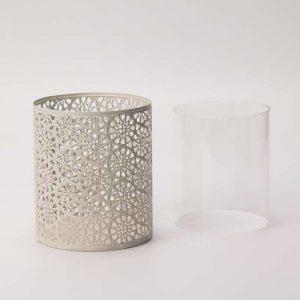 """עשישית מתכת+צלינדר זכוכית ק.10 ג.12 ס""""מ-קרם"""
