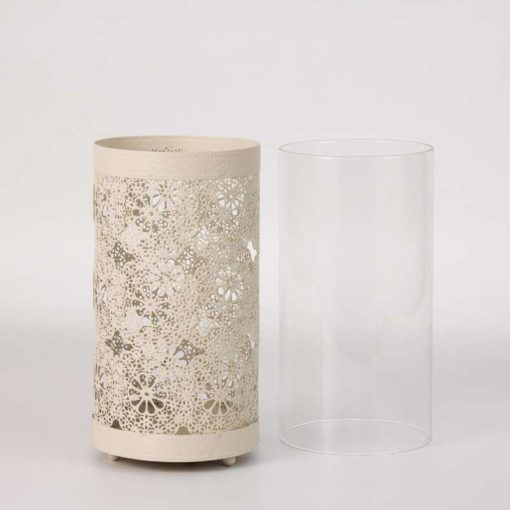 """עשישית מתכת+צלינדר זכוכית ק.10 ג.19 ס""""מ-קרם"""