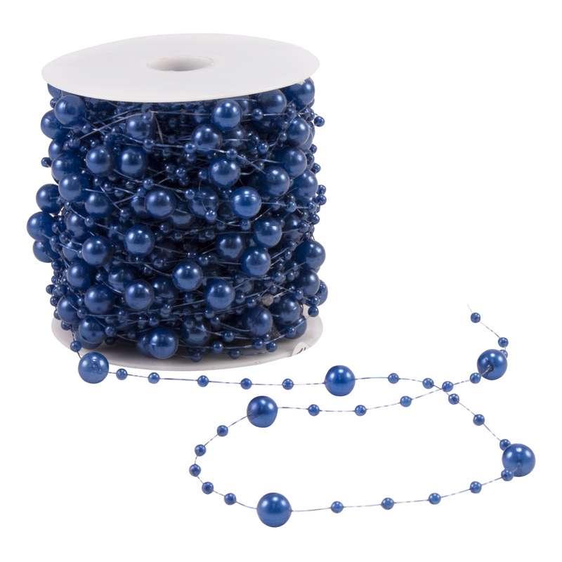 """גליל חרוזים משולב 6מ""""מ+2מ""""מ 25מ'-כחול"""
