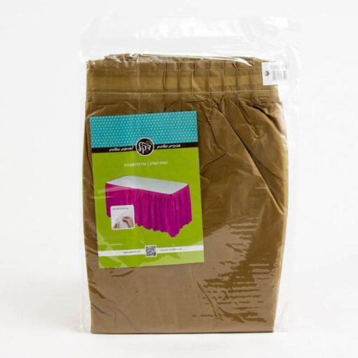 """חצאית פלסטי לשולחן ר.73 א.426 ס""""מ-זהב"""