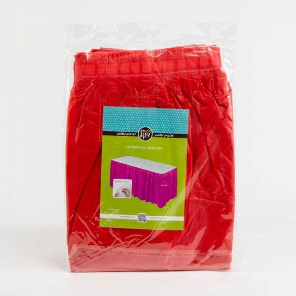"""חצאית פלסטי לשולחן ר.73 א.426 ס""""מ-אדום"""