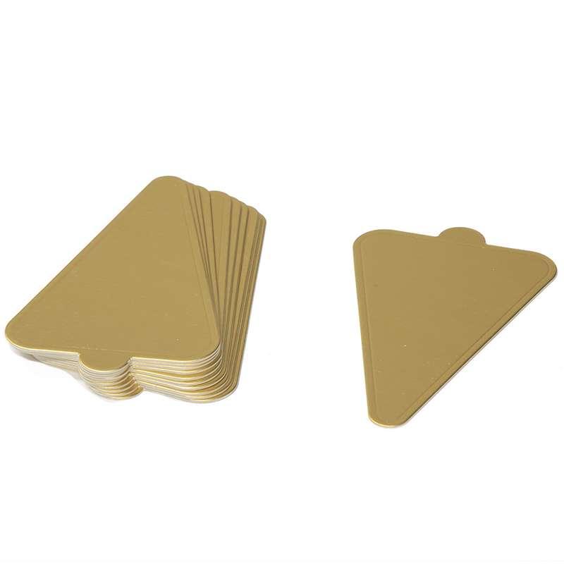 """חבילת 12 תחתית משולש לעוגה אישית 12.5/7.5 ס""""מ-זהב"""