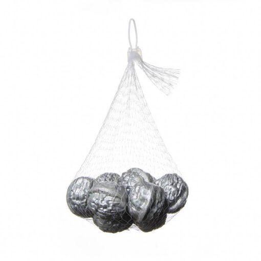 שק 12 אגוזי מלך פלסטי - כסף