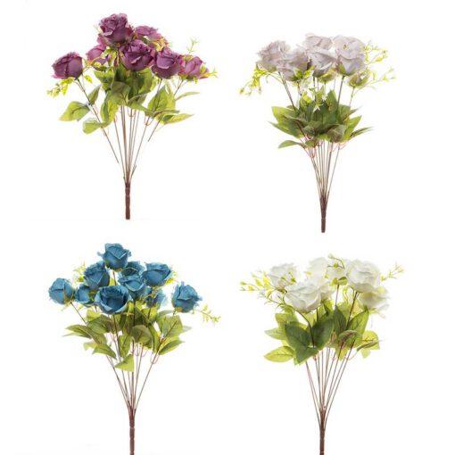 זר ורד פתוח 11X מעורב 4 צבעים