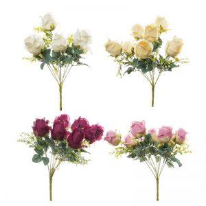 זר ורד פתוח ג'מבו 9X מעורב 4 צבעים
