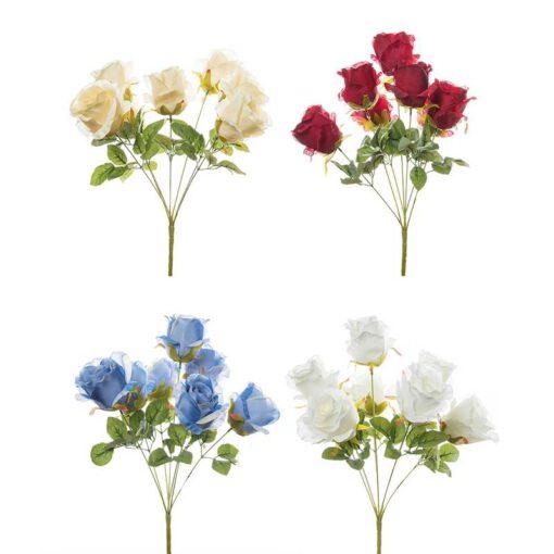 זר ורד פתוח ג'מבו 7X מעורב 4 צבעים