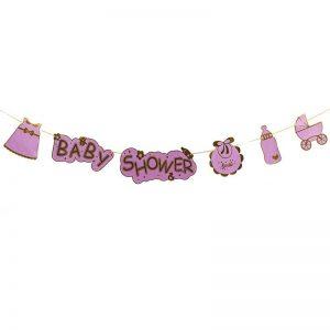 שרשרת לתינוקות - BABY SHOWER- סגול/זהב