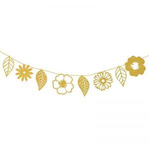 שרשרת נייר עלים מיטלי (8 עלים)-זהב
